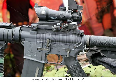 Beaulieu, Hampshire, Uk - May 29 2017: Closeup Of Colt Canada C8 Carbine L119A1