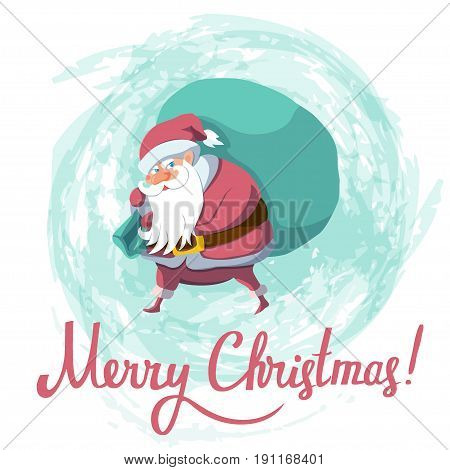 Santa Claus with big sack dropping the gifts. Christmas or New Year holiday art. Vector illustration. Great choice for gift or greeting cards, poster or banner.