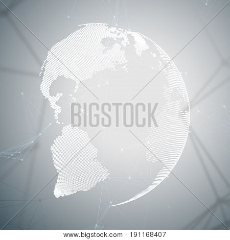 Abstract futuristic network shapes. High tech background, connecting lines and dots, polygonal linear texture. World globe on gray. Global network connections, geometric design, dig data concept
