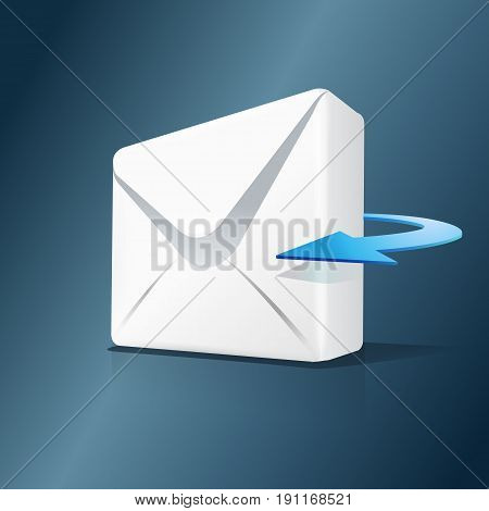 3d mail and blue arrow isolated on white background