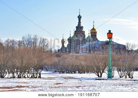 Savior on Spilled Blood Cathedral and The Field of Mars at winter in St.Petersburg Russia.