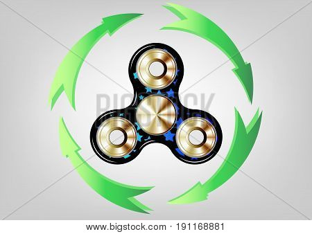 Fidget spinner icon - toy for stress relief and improvement of attention span. Filled gold metallic whit stars