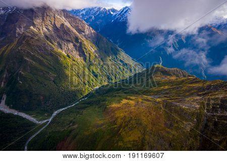 Beautiful landscape of Franz Josef Glacier National Park, in New Zealand.