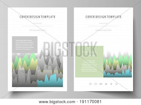 The vector illustration of the editable layout of A4 format covers design templates for brochure, magazine, flyer, booklet, report. Rows of colored diagram with peaks of different height