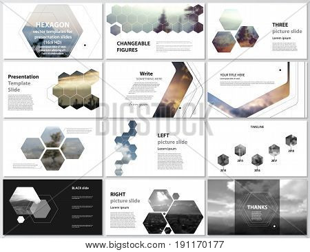 The minimalistic abstract vector illustration of editable layout of high definition presentation slides design business templates. Hexagonal style decoration for flyer, report, advertising, brochure.