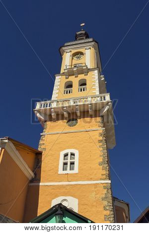 City hall of Kamyanets-Podilsky over blue sky Ukraine