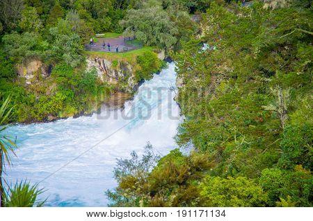 Powerful Huka Falls on the Waikato River near Taupo North Island New Zealand.