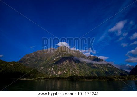 landscape of high mountain glacier at milford sound, New Zealand.