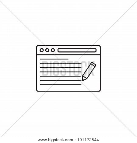 seo copywriting icon, browser with pen, symbol, vector graphics, a linear pattern on a white background, eps 10.