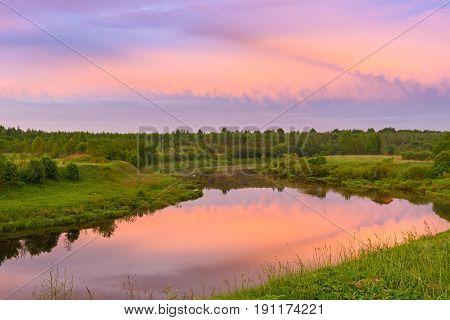 Bend Of The River Shelon In The Pskov Region, In The Daytime More Sky