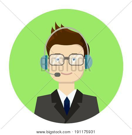 Vector flat illustration of call center boy operator