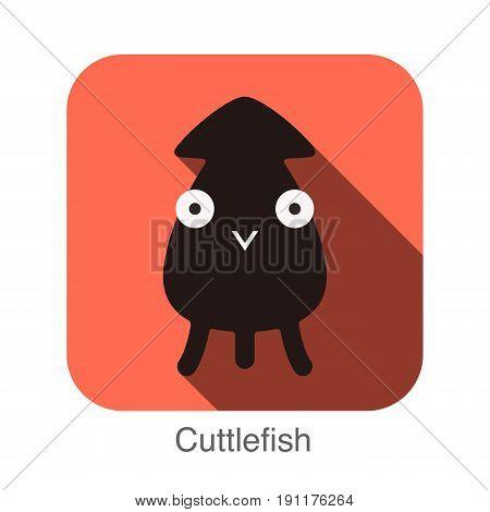 Cuttlefish animal face flat design, vector illustration