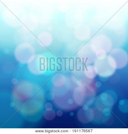 Abstract blue circular bokeh background. Vector Illustration design