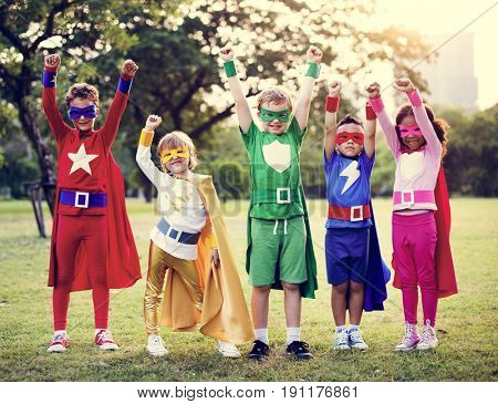 Kids Wear Superhero Costume Outdoors
