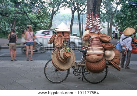 Hanoi vietnam : Street vendors in Hanoi's Old Quarter on October 3 2015 He sells souvernir made from bamboo this is Vietnam's culture