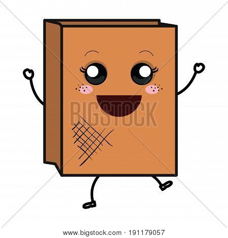 Paper bag for bread kawaii character vector illustration design