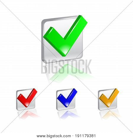checkbox icon set on square color background.