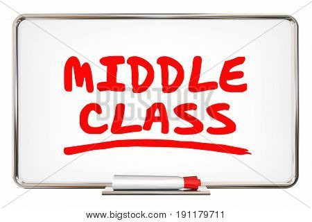 Middle Class Dry Erase Board Income Lifestyle 3d Illustration