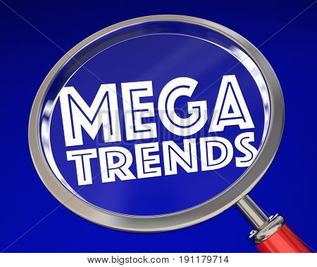 Megatrends Big Shift Change Transition Magnifying Glass 3d Illustration