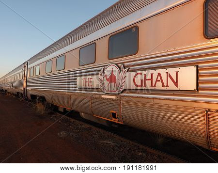 Marla Australia - May 8 2017: Carriages of the famous Ghan railway at a morning stop in Marla South Australia
