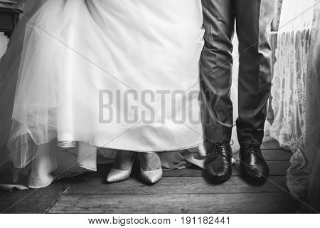 Couple take an abstract wedding shoot at legs