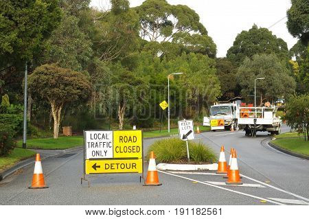 Melbourne Victoria Australia - June 17 2017: Road works road closed and detour sign