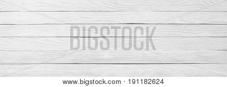 White Wood Texture Close-up, Background Of A Wooden Table Surface, Panorama