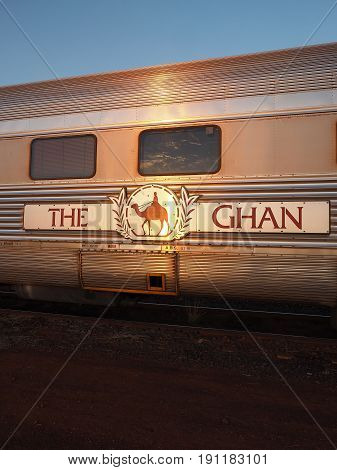 Marla Australia - May 8 2017: A carriage of the famous Ghan railway at a morning stop in Marla South Australia