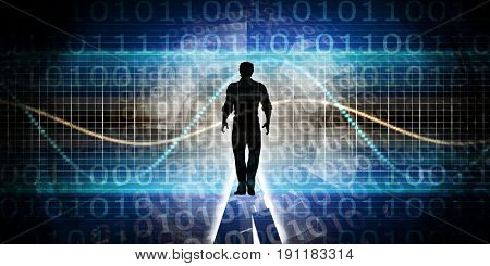 Empowered by Technology with Man Standing in Digital Portal 3D Illustration Render