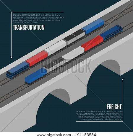Freight transportation isometric banner vector illustration. Freight train on railway bridge. Cargo shipment process, logistics and distribution, freight service, transportation business concept