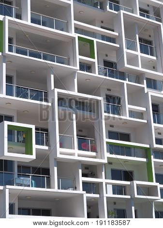Darwin Australia - May 11 2017: New modern architecture high rise apartment block