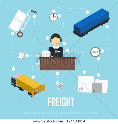 Logistics and freight shipment flowchart isometric vector illustration. Services operator coordinating cargo transportation. Warehouse logistics manager, freight train and commercial truck