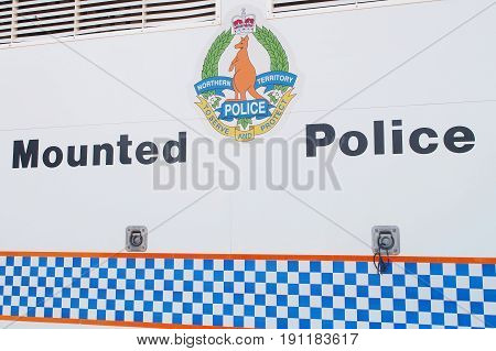 Darwin Australia - May 11 2017: Sign of the Northern Territory mounted police services on a truck