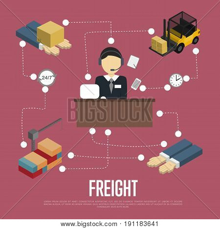 Logistics and freight shipment flowchart isometric vector illustration. Services operator coordinating cargo transportation. Warehouse logistics manager, freight crane and forklift truck