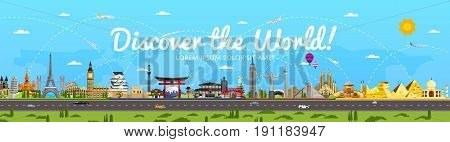 Discover the World poster with famous attractions vector illustration. Kremlin, Tower Bridge, Saint Sophie Cathedral, Colosseum, Leaning Tower of Pisa and other. World travel and tourism concept