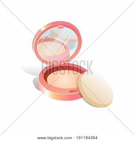 Vector pink face Cosmetic Makeup Powder Case with Mirror and Applicator side View Isolated on White Background