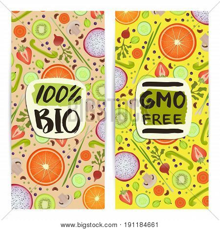 Eco products vertical flyers set vector illustration. Natural fruits and vegetables colorful background. Vegetarian organic raw food, healthy lifestyle, gmo free, vegan, bio and eco nutrition concept