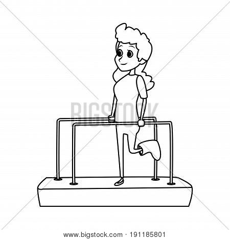 cartoon girl patient with broken leg in physiotherapy vector illustration