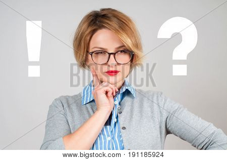 Thinking Woman With Questioning Mark And Exclamation Mark