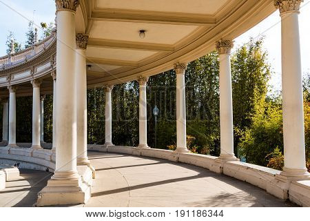 SAN DIEGO, CALIFORNIA - FEBRUARY 21, 2016:  The colonnade of the Spreckels Organ Pavilion in Balboa Park, with Corinthian-style columns, built for the 1915 Panama-California Exposition.