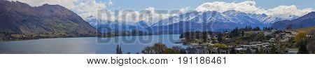 panorama view of wanaka lake town most popular natural traveling destination in south island new zealand