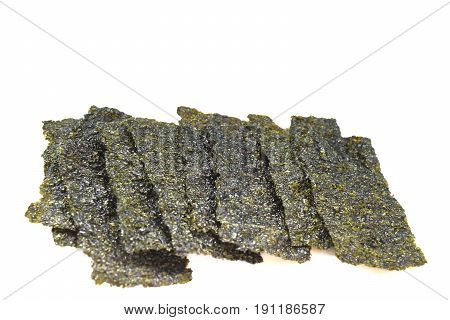 Seaweed fried On a white background .