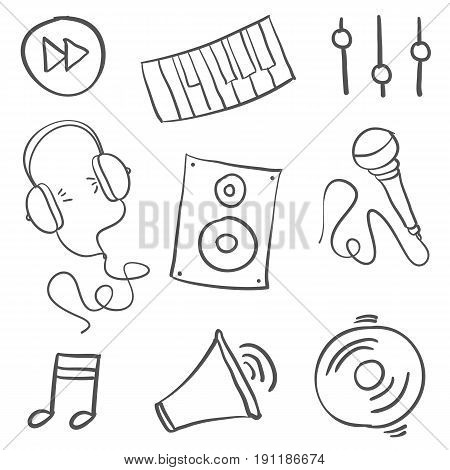 Collection stock of music object doodle vector art