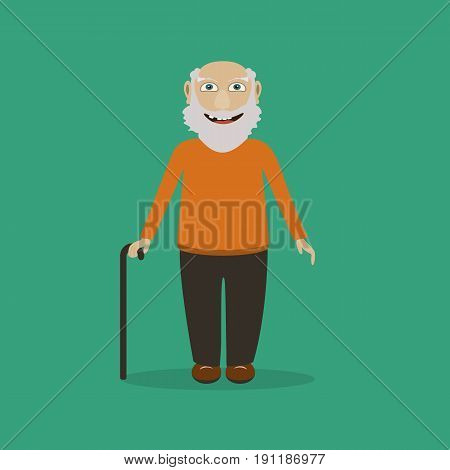 Old man in a row vector character on a green background. Grandpa character