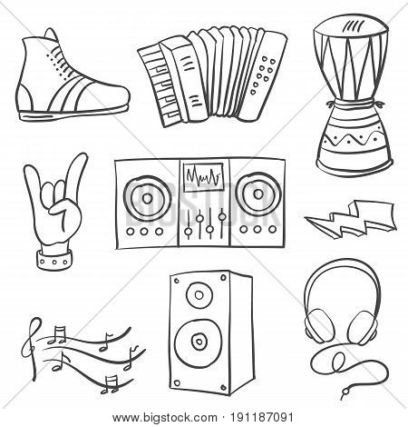 Collection stock musical illustration doodles vector illustration