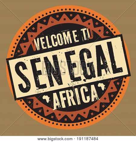 Grunge rubber stamp with the text Welcome to Senegal Africa written inside the stamp
