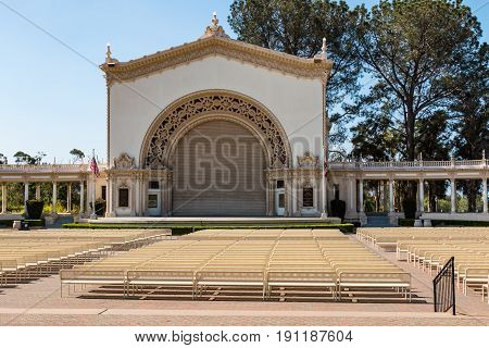 SAN DIEGO, CALIFORNIA - APRIL 28, 2017:  The Spreckels Organ Pavilion in Balboa Park, home to the largest outdoor pipe organ in the world, providing Sunday public organ concerts.