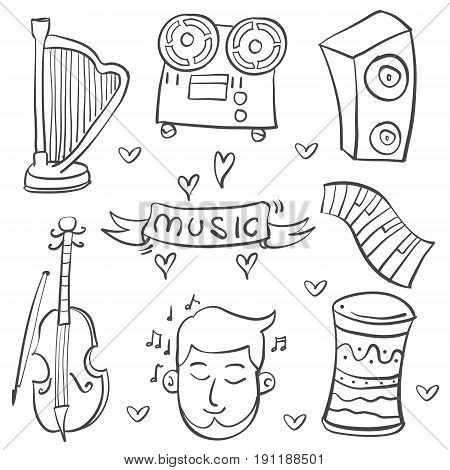 Collection stock of music element various doodle vector art