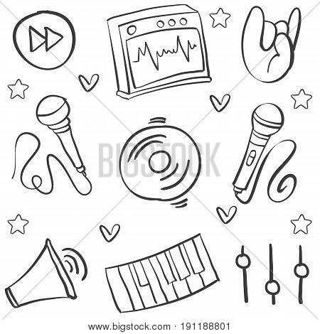 Collection stock music various hand draw doodles vector art
