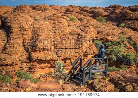 The Rock dome of Kings canyon in the Northern Territory state of Australia.